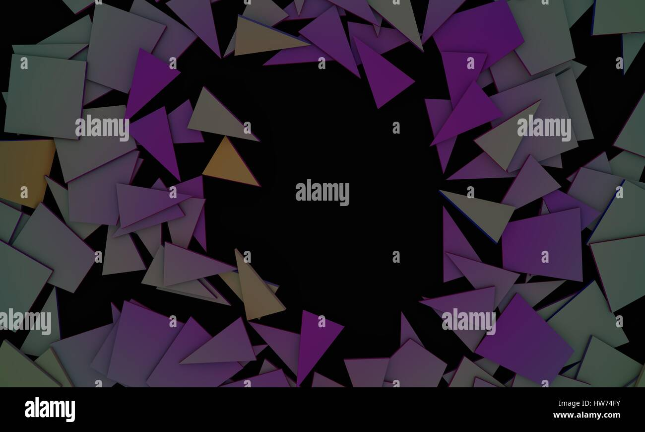 Shattered contrast colors objects,sample text frame background 3d render, working - Stock Image