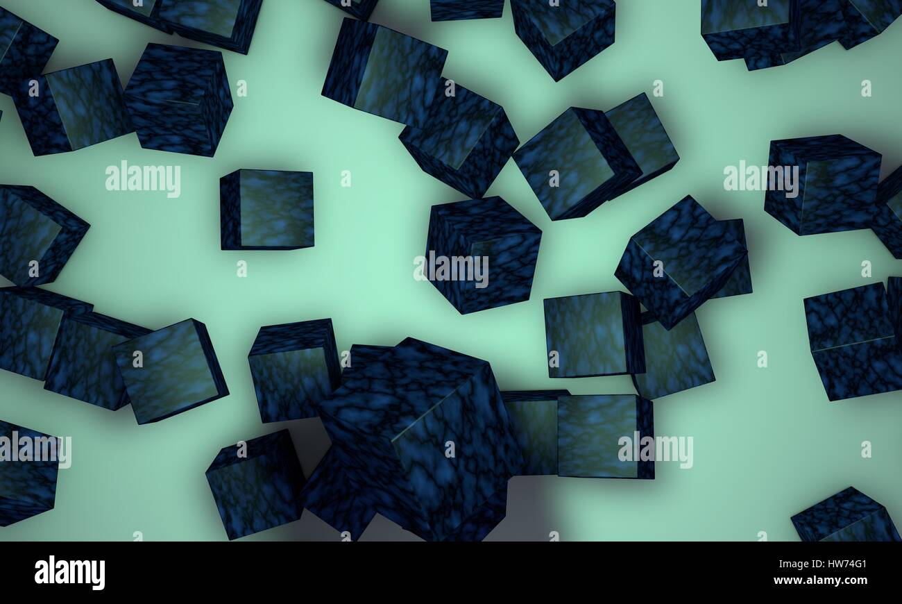 Scattered blue coloured cubes,background 3d render, working - Stock Image