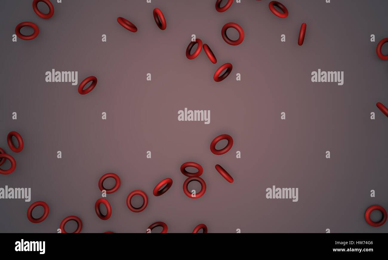 Shattered red coloured torus,sample text background 3d render, working - Stock Image