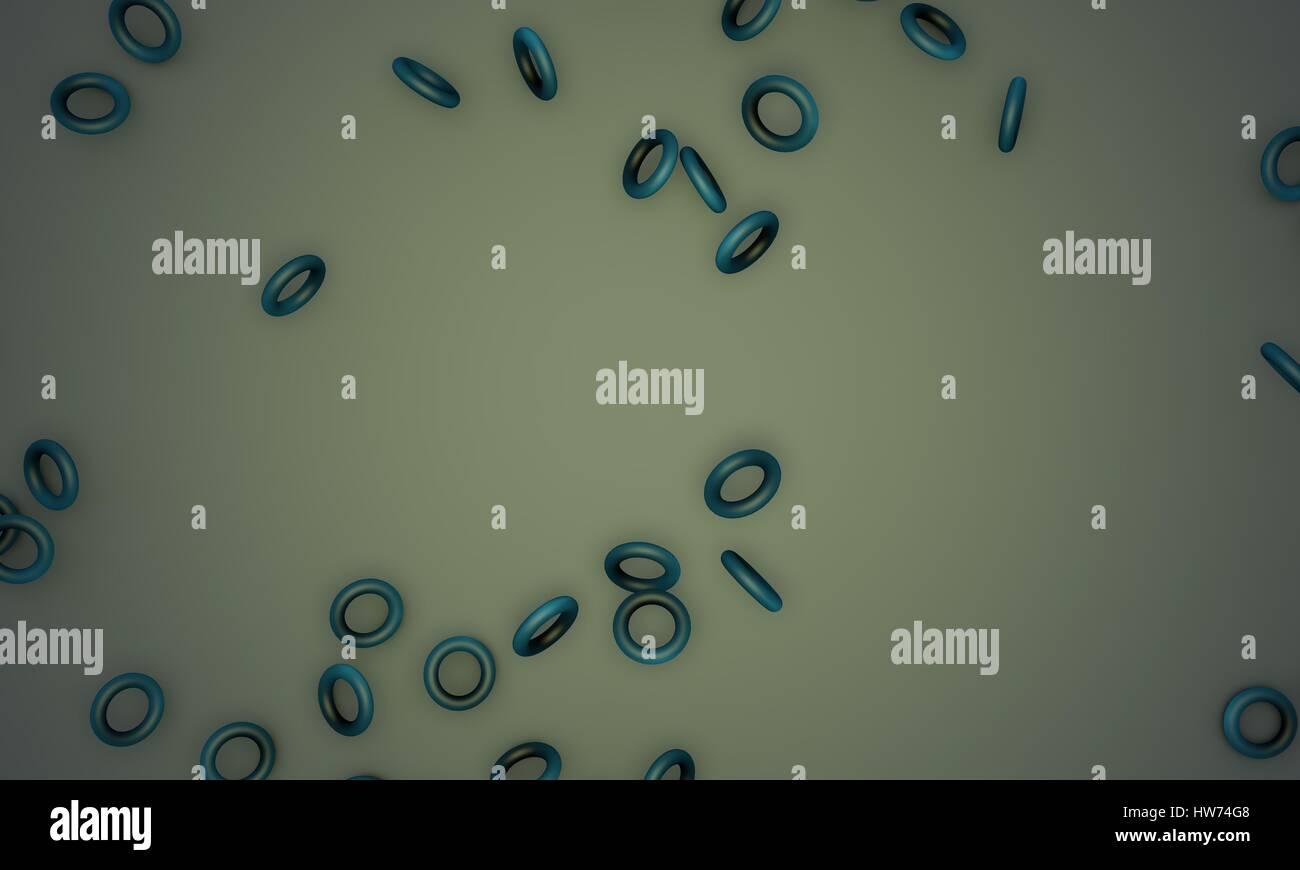 Shattered blue torus,sample text background 3d render , working - Stock Image