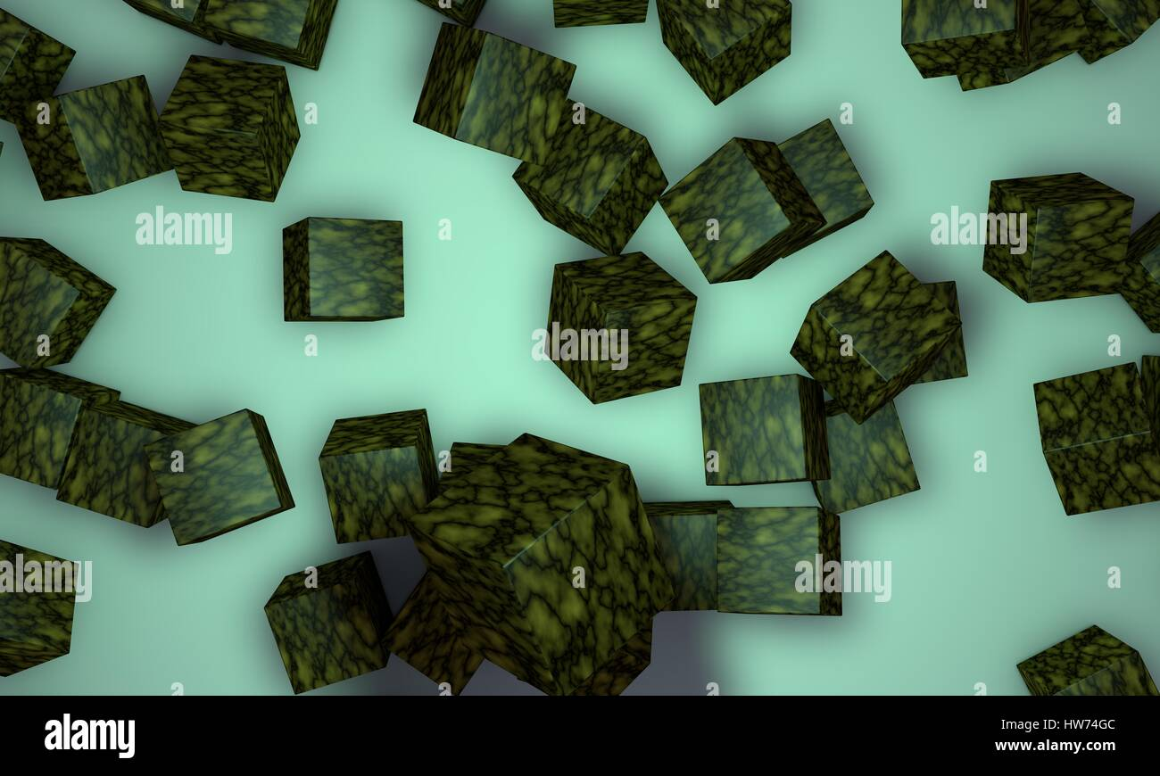 Scattered yelow coloured cubes,background 3d render, working - Stock Image