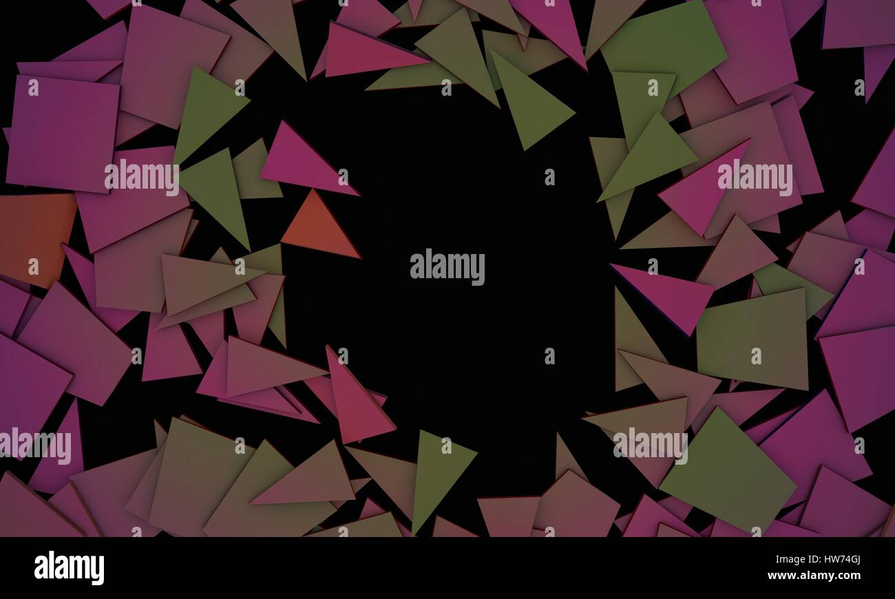 Shattered colors objects,sample text background 3d render, working - Stock Image
