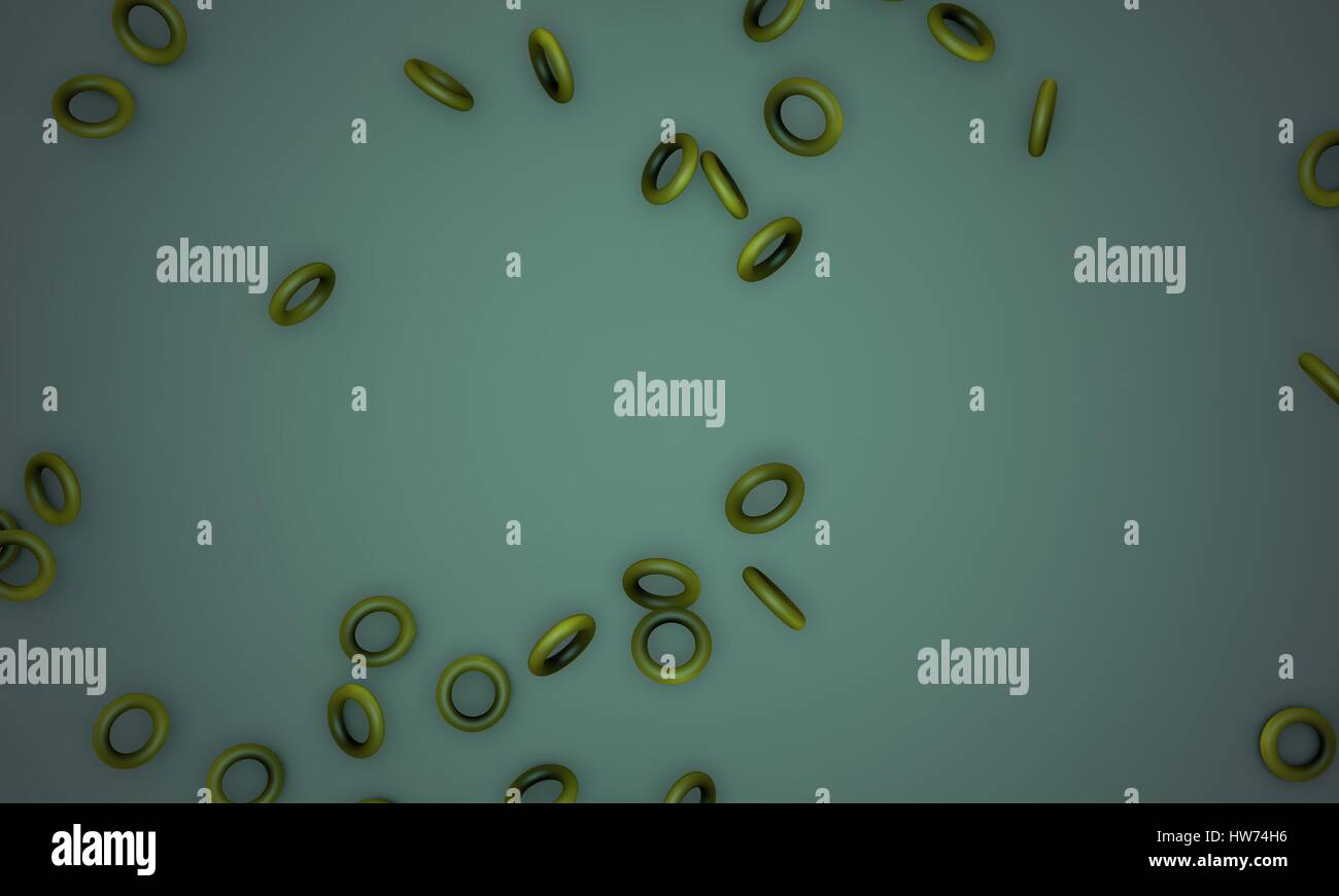 Shattered yellow torus,sample text background 3d render, working - Stock Image