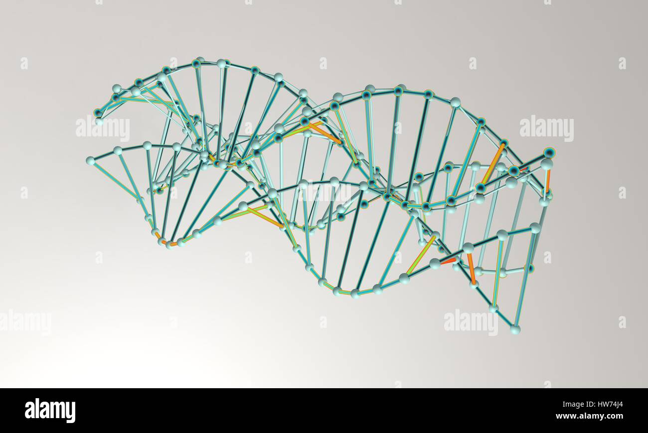 DNA model background, isolated on white 3d render, working - Stock Image