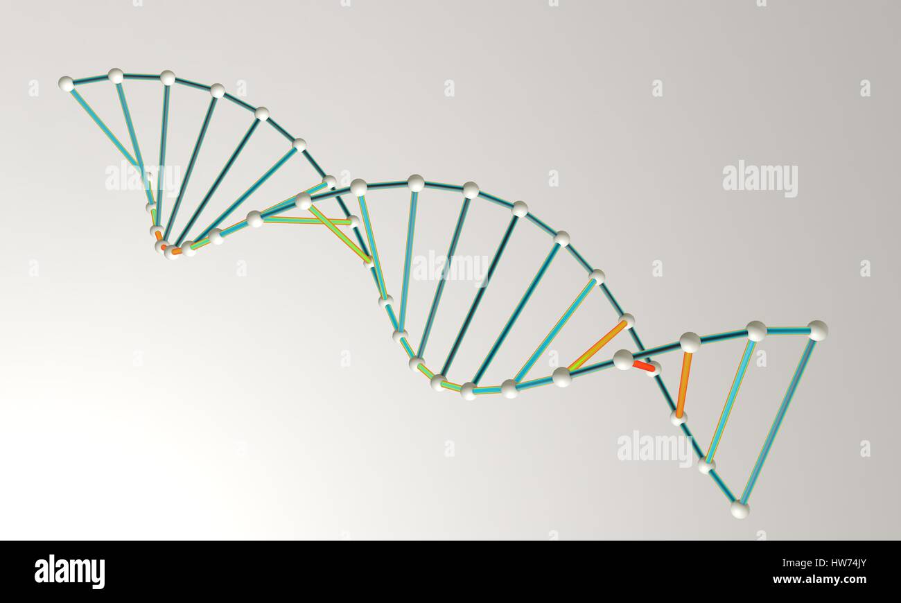 DNA model background 3d render, working - Stock Image