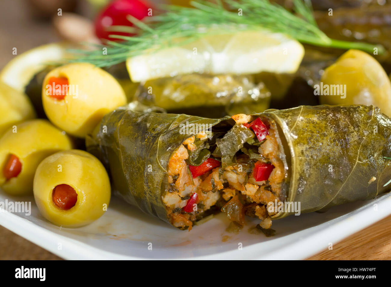 Mediterranean Meal Plate Grape Leaves Stuffed With Rice Stock Photo Alamy