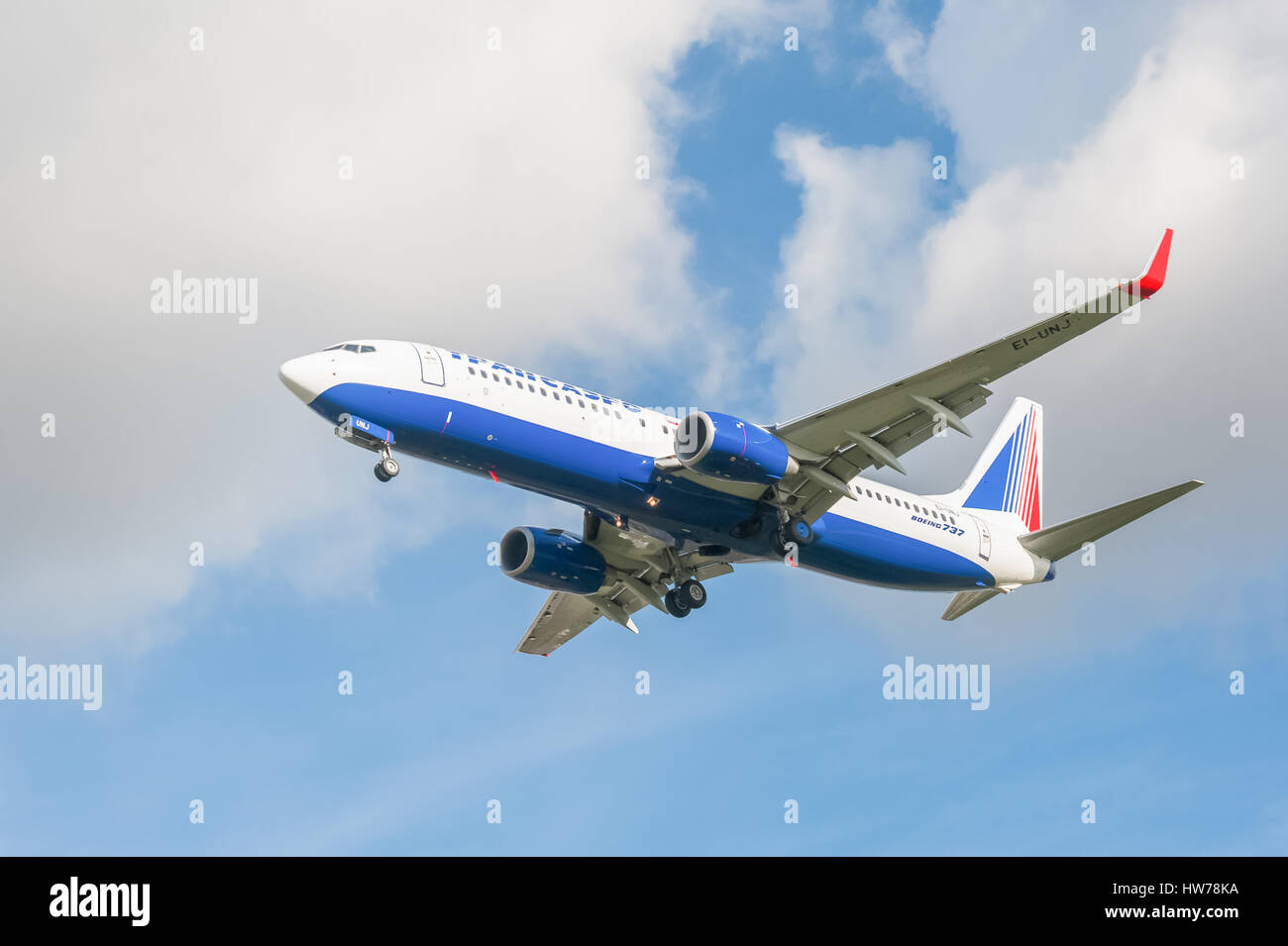Operated by Russian Federation airline Transaero, a Boeing 737 on landing approach to London Heathrow Airport Stock Photo