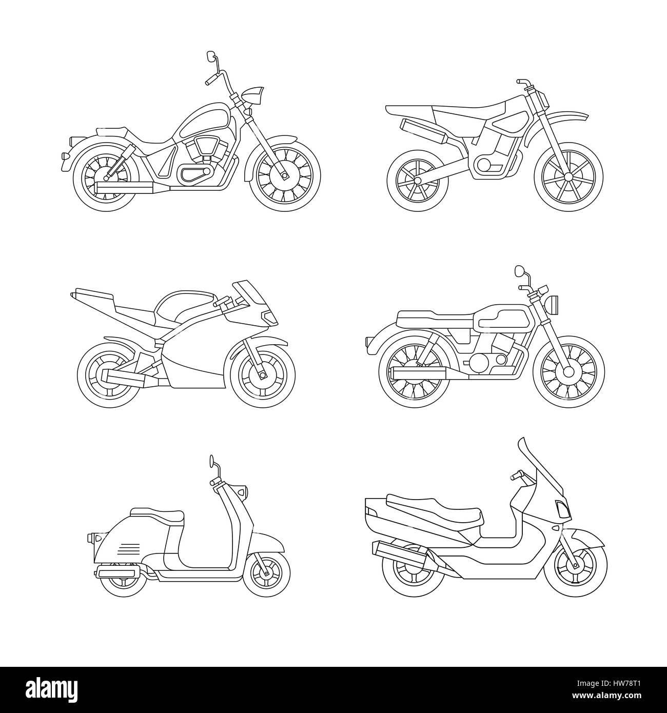 Motorcycle and scooter line icons set. - Stock Image
