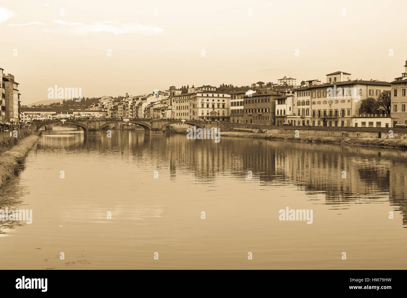Old postcard from Florence in sepia tones - Stock Image