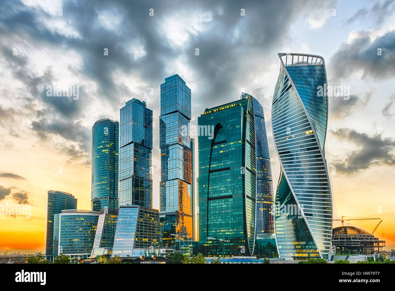 Scenic view with skyscrapers of the Moscow City International Business Center, Moscow Skyline, Russia Stock Photo