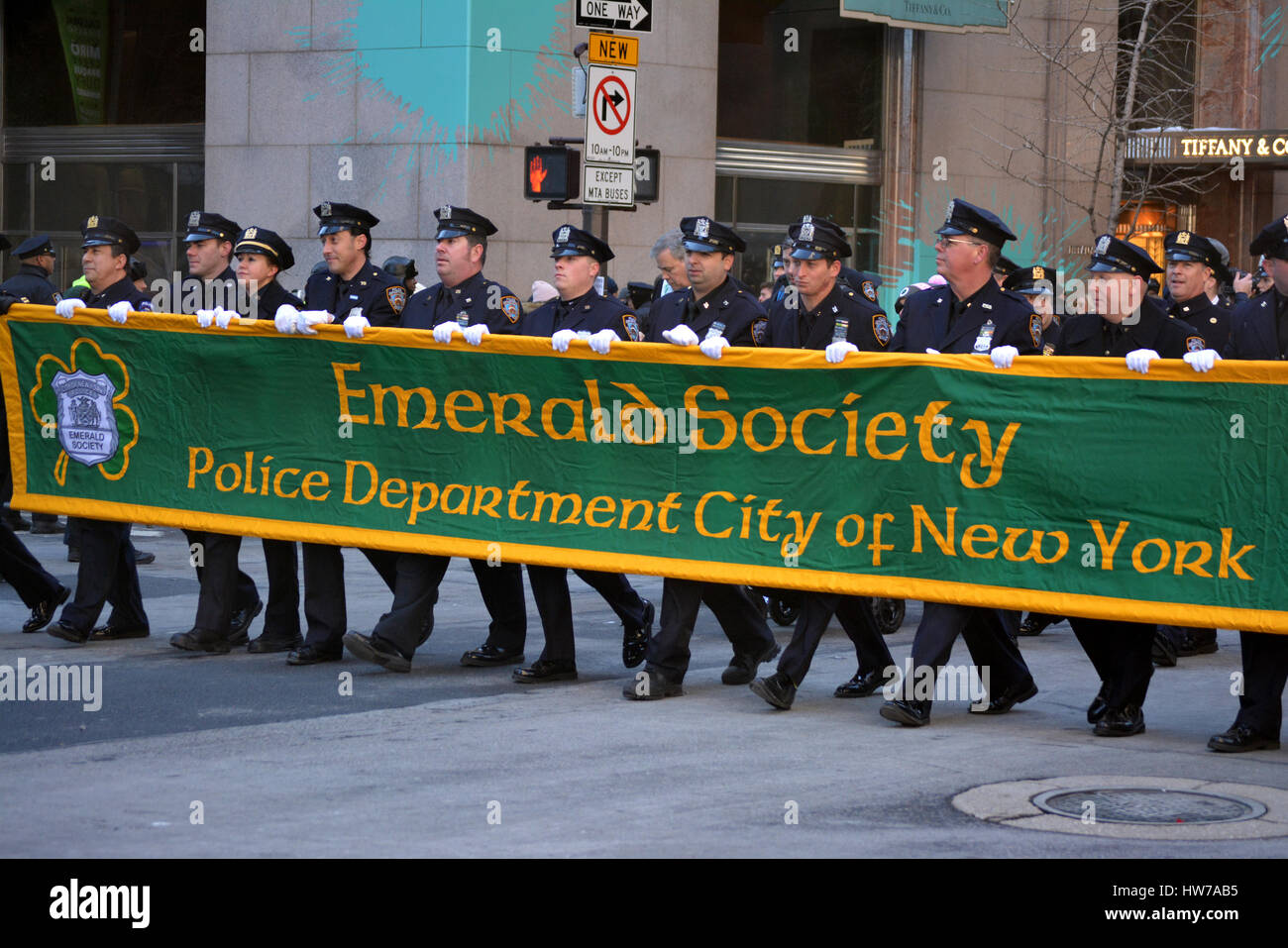 a551a2f3 Members of the NYPD Emerald Society marching in the St. Patrick's Day  Parade in Manhattan