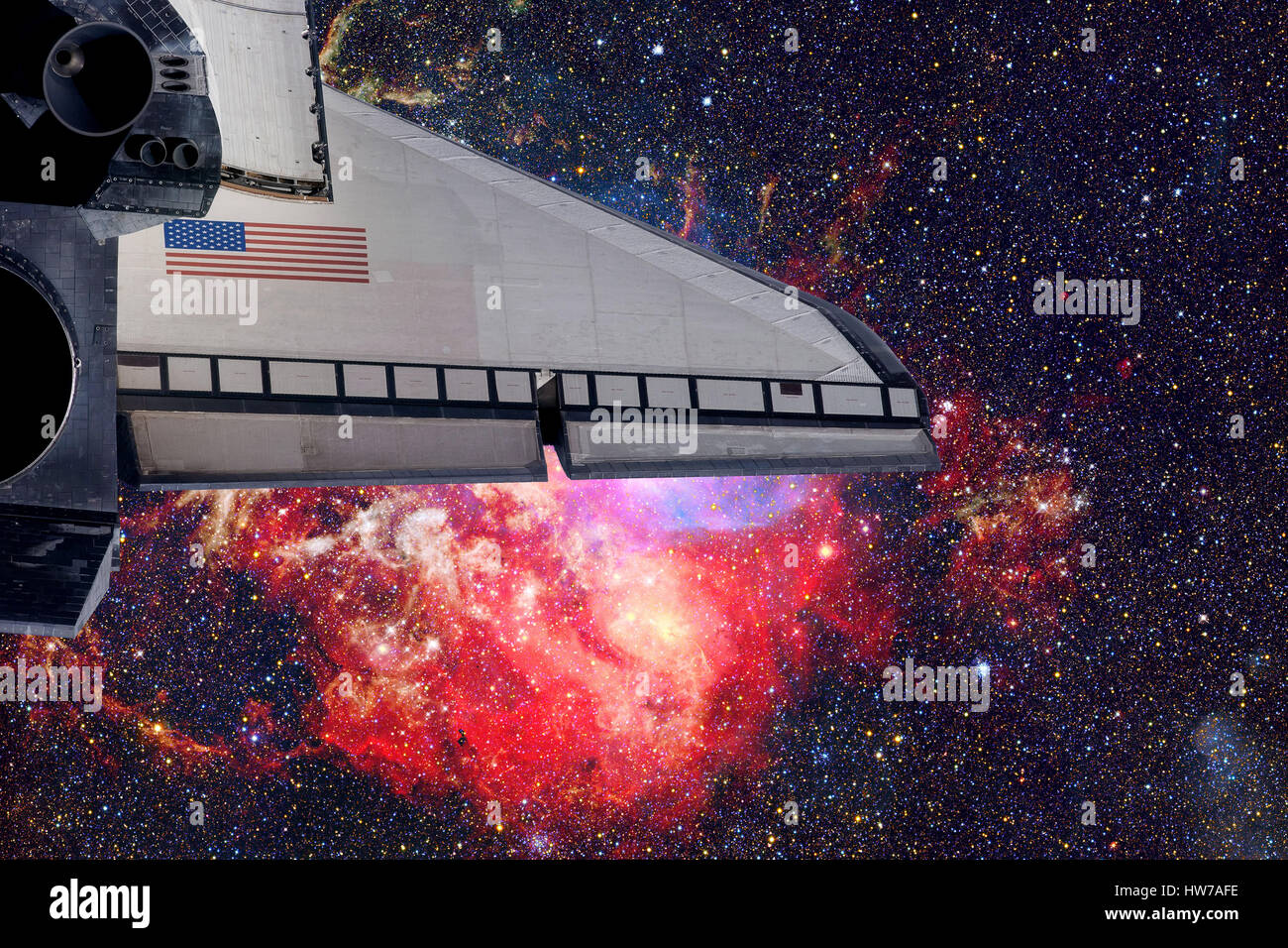 Space shuttle taking off on a mission. Elements of this image furnished by NASA - Stock Image