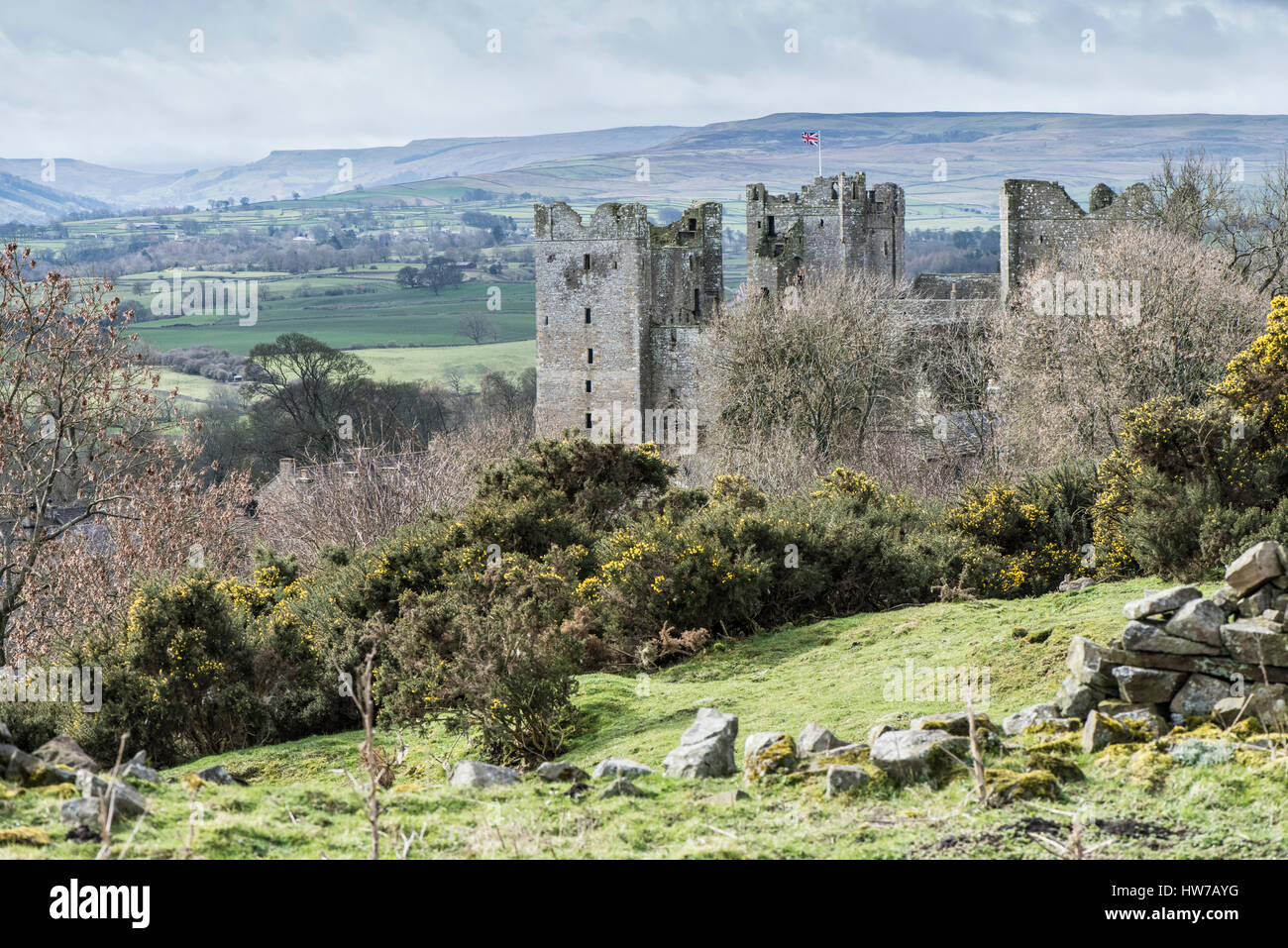 Bolton Castle, Castle Bolton, Wensleydale with a view up Bishopdale. This 14th century castle in the Yorkshire Dales - Stock Image