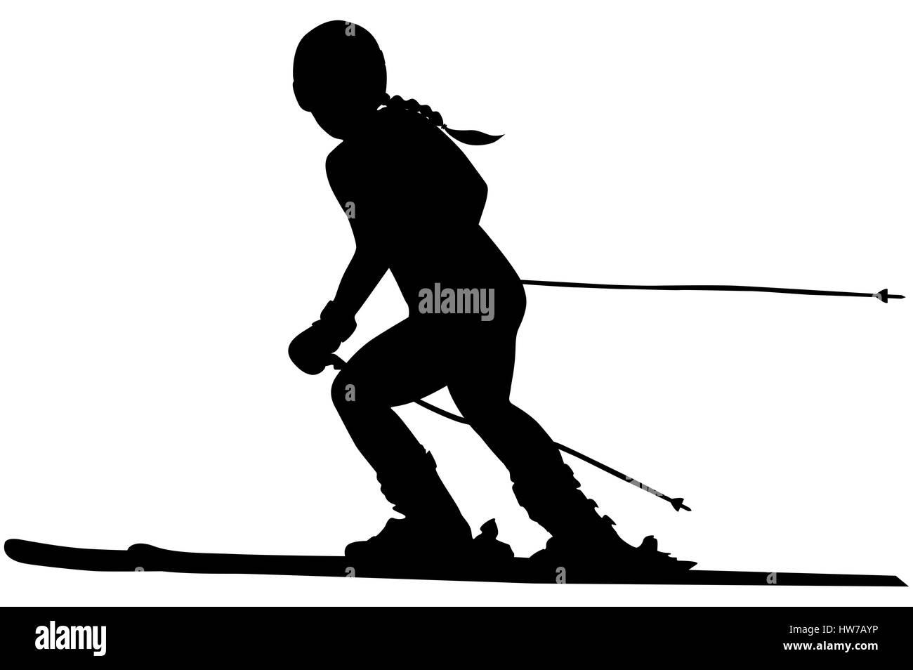 alpine skiing female athlete downhill black silhouette - Stock Image