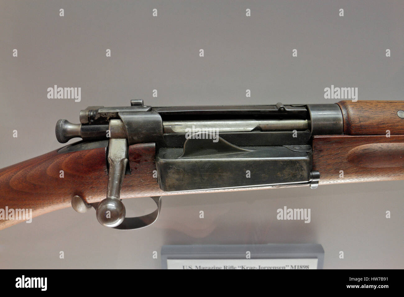 The US Magazine Rifle 'Krag-Jorgensen' M1898 on display in the Springfield Armory National Historic Site, - Stock Image