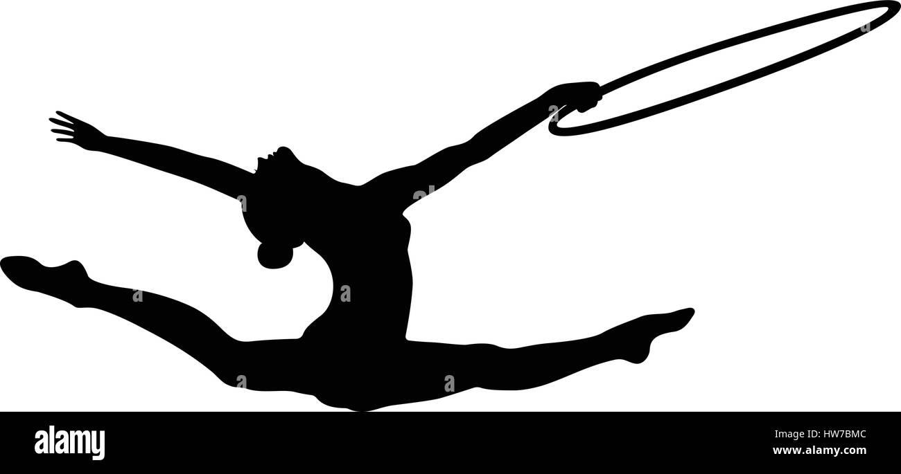 girl gymnast splits jump hoop in rhythmic gymnastics black silhouette stock image vault91 silhouette