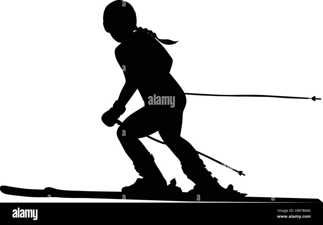 alpine skiing female athlete downhill black silhouette - Stock Vector