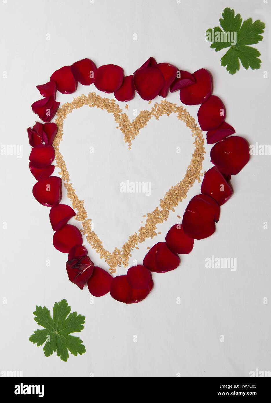 Heart from leaves of roses and wheat. Symbol of love, health and prosperity. - Stock Image