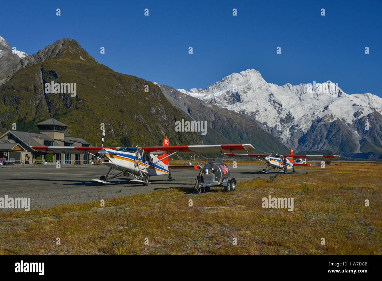 Pilatus PC6 aircraft at airfield, Mount Cook National Park, New Zealand - Stock Image