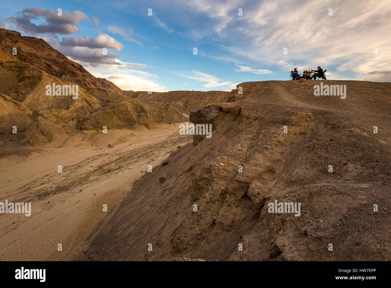 people, couple, picnic, picnicking, Artists Palette, Artist Drive, Death Valley National Park, Death Valley, California - Stock Image