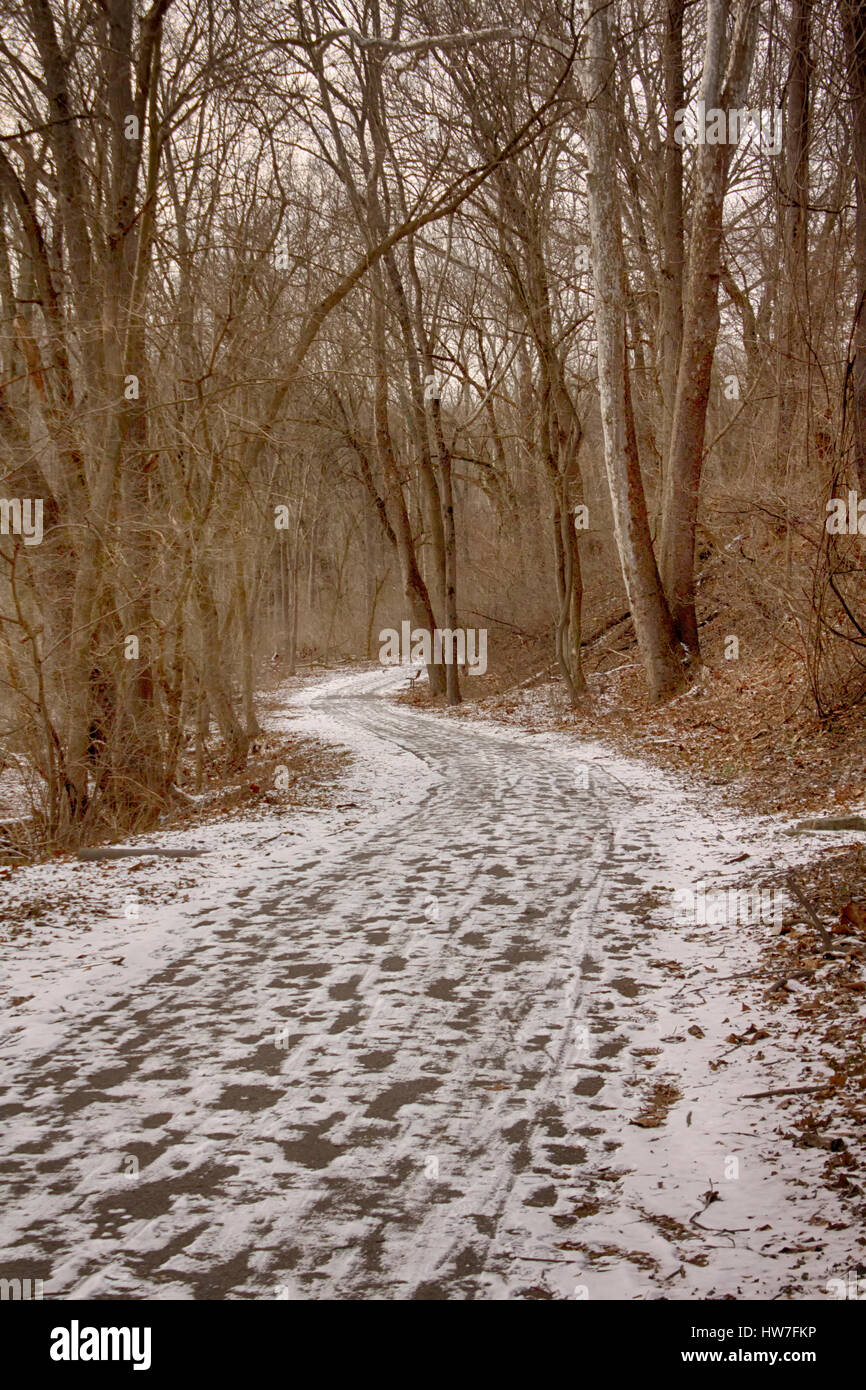 Grist Mill trail with snow and footprints Stock Photo