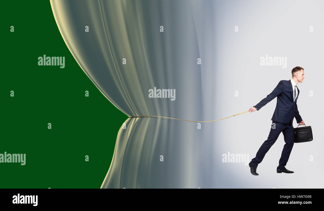 Young businessman beginning presentation, concept of performance - Stock Image