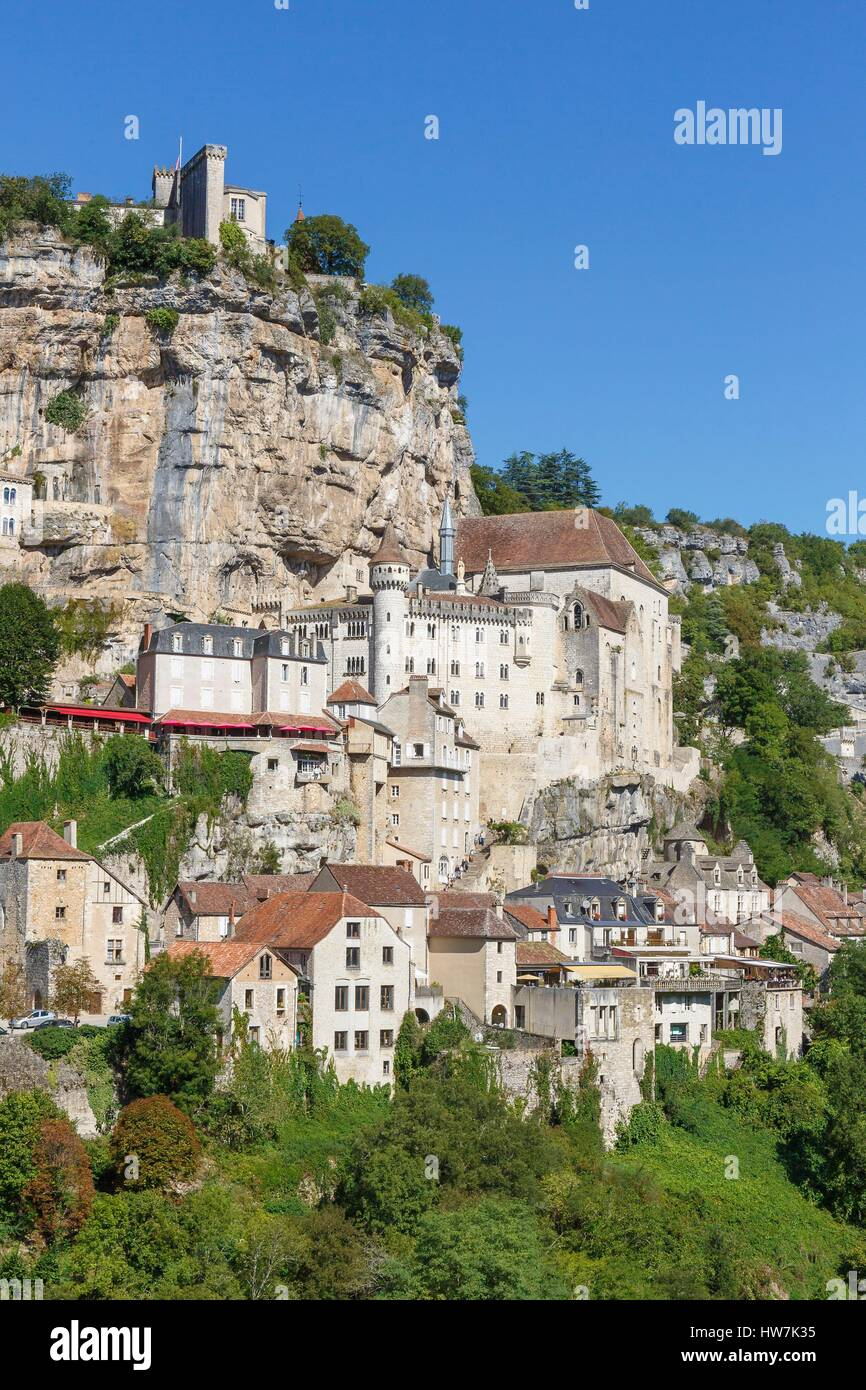 France, Lot, Rocamadour, Camino de Santiago stopping place, the village - Stock Image