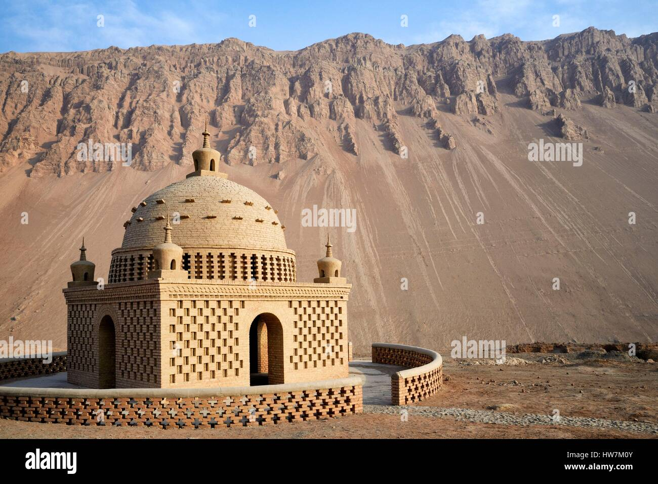 China, Xinjiang Uyghur Autonomous Region, Turpan (Turfan, Tulufan), Flaming Mountains - Stock Image