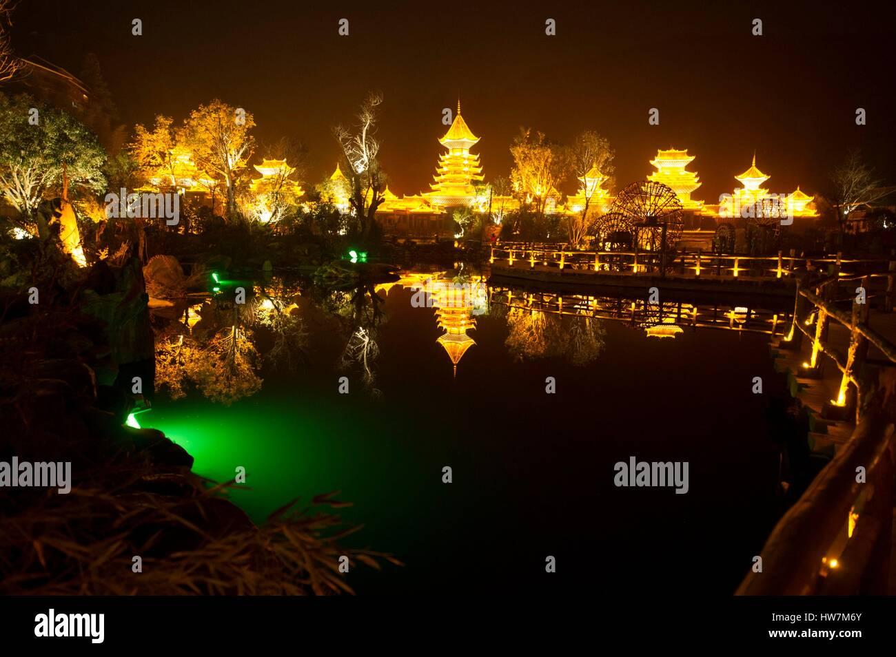 China, Guizhou, Zhaoxing, little capital of the Dong, by night Stock Photo