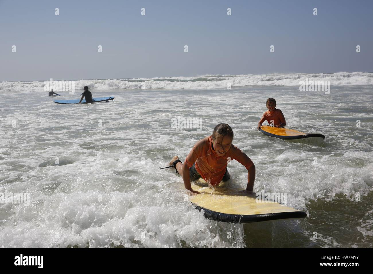 France, Landes, Hossegor and Soustons, surfers and schools of surf - Stock Image