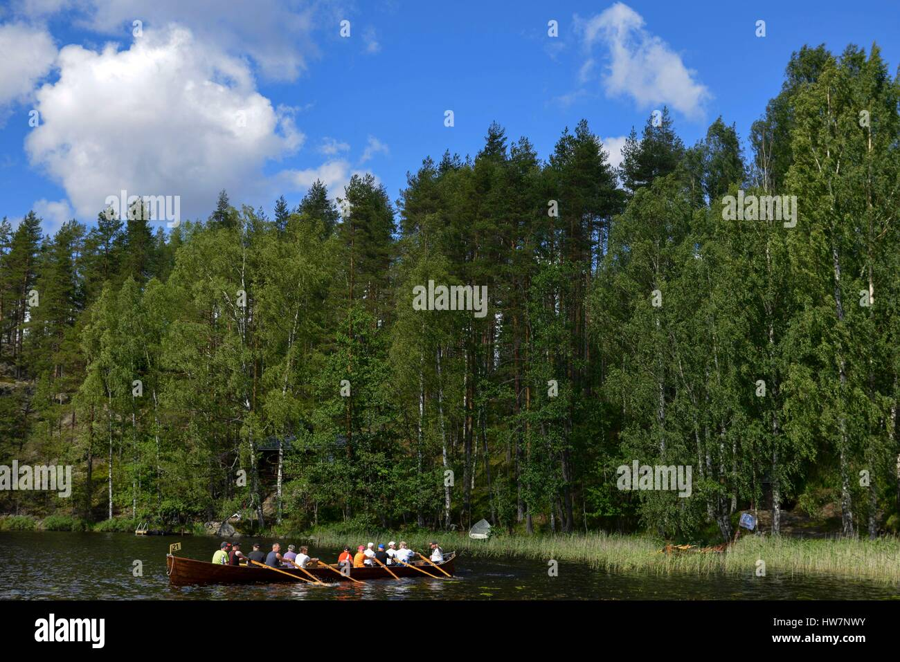 Finland, province of oriental Finland, Sulkava, rowing race on a lake aboard a Muikka the Finnish traditional boat - Stock Image
