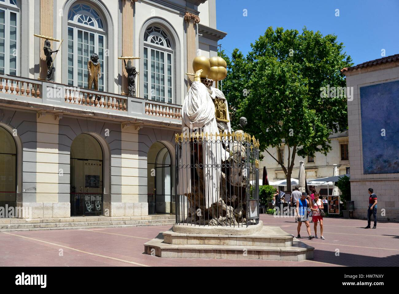 Spain Catalonia Costa Brava province of Girona Figueres Gala and Salvadore Dali Place sculpture in front of the - Stock Image