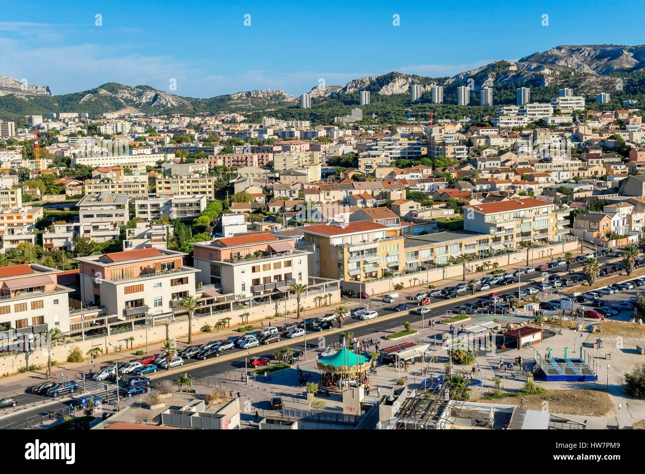 France, Bouches du Rhone, Marseille, the Prado beaches, avenue Pierre Mendes France (aerial view) - Stock Image