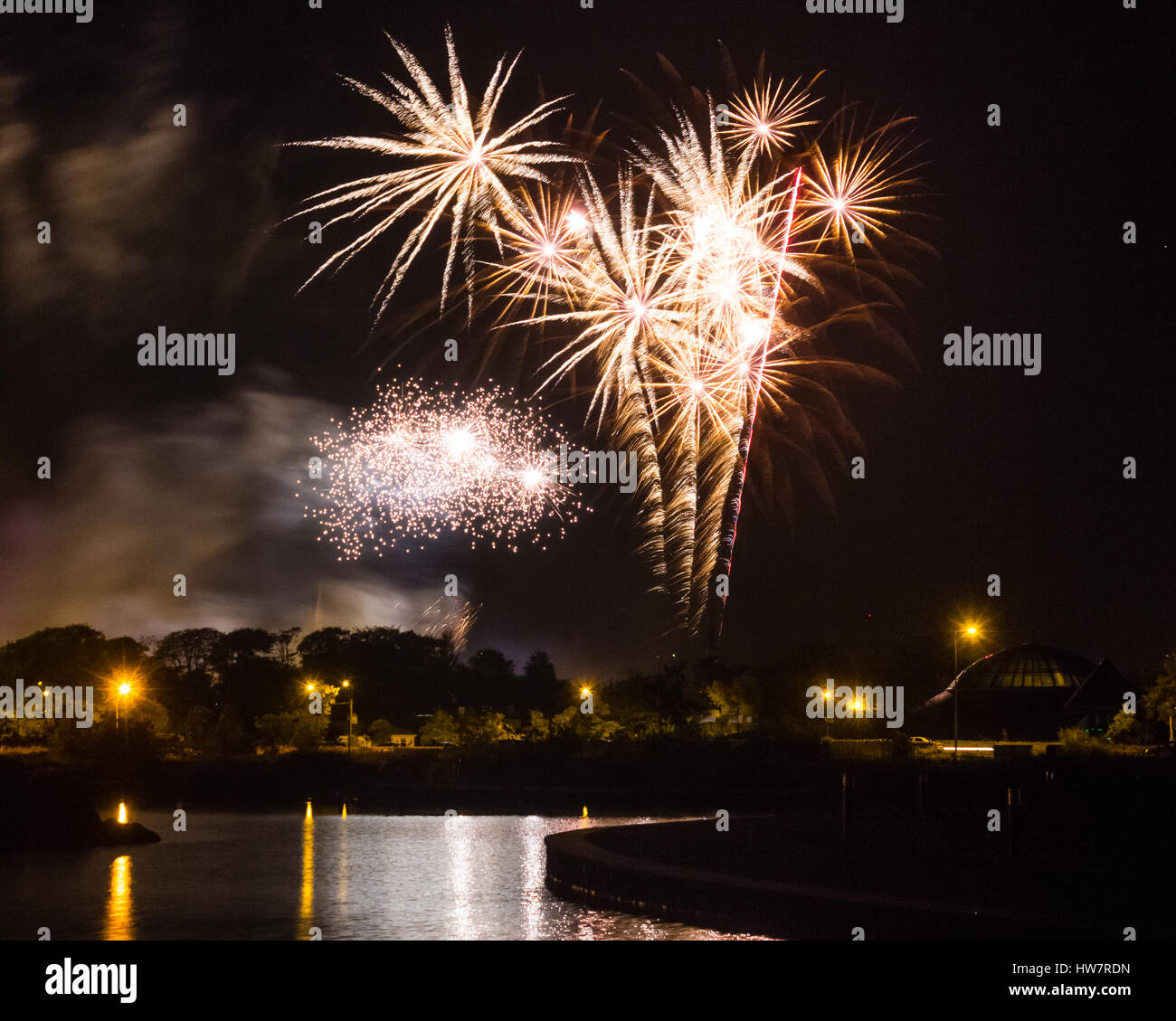 Fireworks at Rose of Tralee Festival in Tralee, County Kerry, Ireland - Stock Image