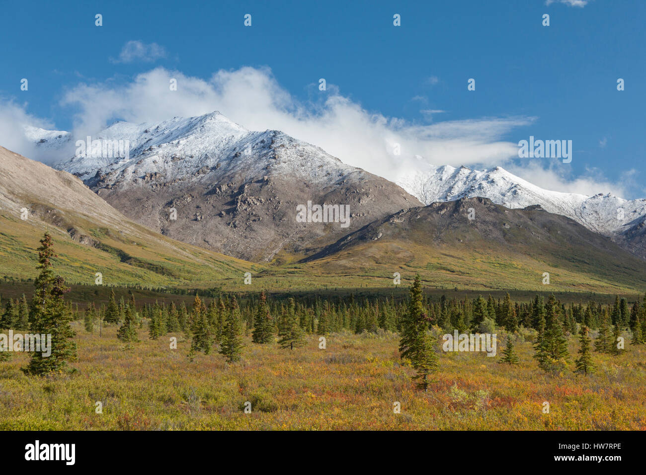 Termination dust on the Alaska Range, Denali National Park, Alaska. - Stock Image