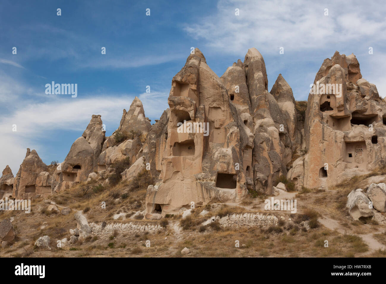 Cave dwelling ruins at the Goreme Open Air Museum, Turkey - Stock Image