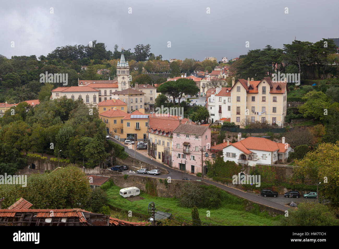 Sintra, Portugal: Elevated view of town center with the Câmara Municipal Sintra (Town Council). - Stock Image