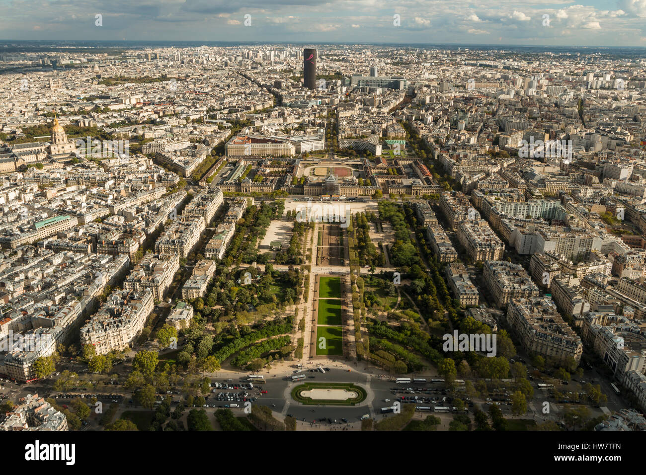 PARIS, FRANCE- OCTOBER 2, 2016: View over Paris from the top of the Eiffel Tower. Stock Photo