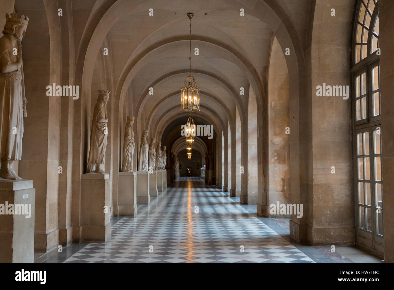 VERSAILLES, FRANCE- OCTOBER 5, 2016: Interior hallway in the Palace of Versailles. - Stock Image