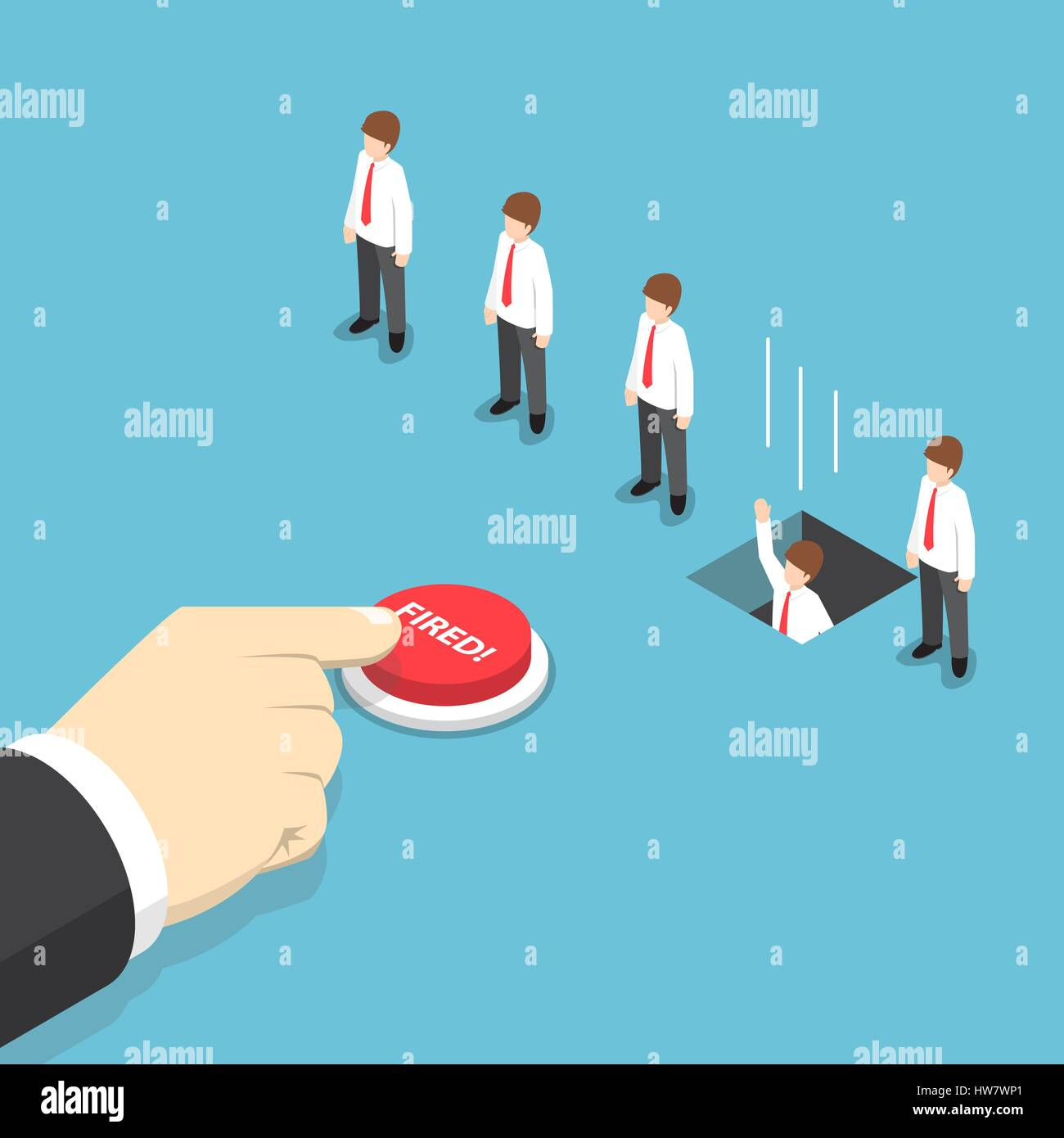 Isometric businessman hand pushing fired button to layoff his employee, employee job reduction and termination concept - Stock Vector