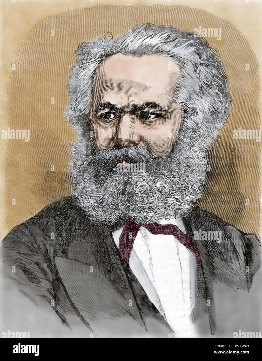 Karl Marx (1818-1883) 19th. Century. Economist, philosopher and revolutionary socialist.The communist Manifesto. - Stock Image