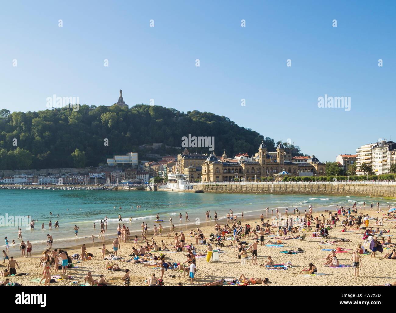 View over La Concha beach, Donostia, San Sebastian, Spain - Stock Image