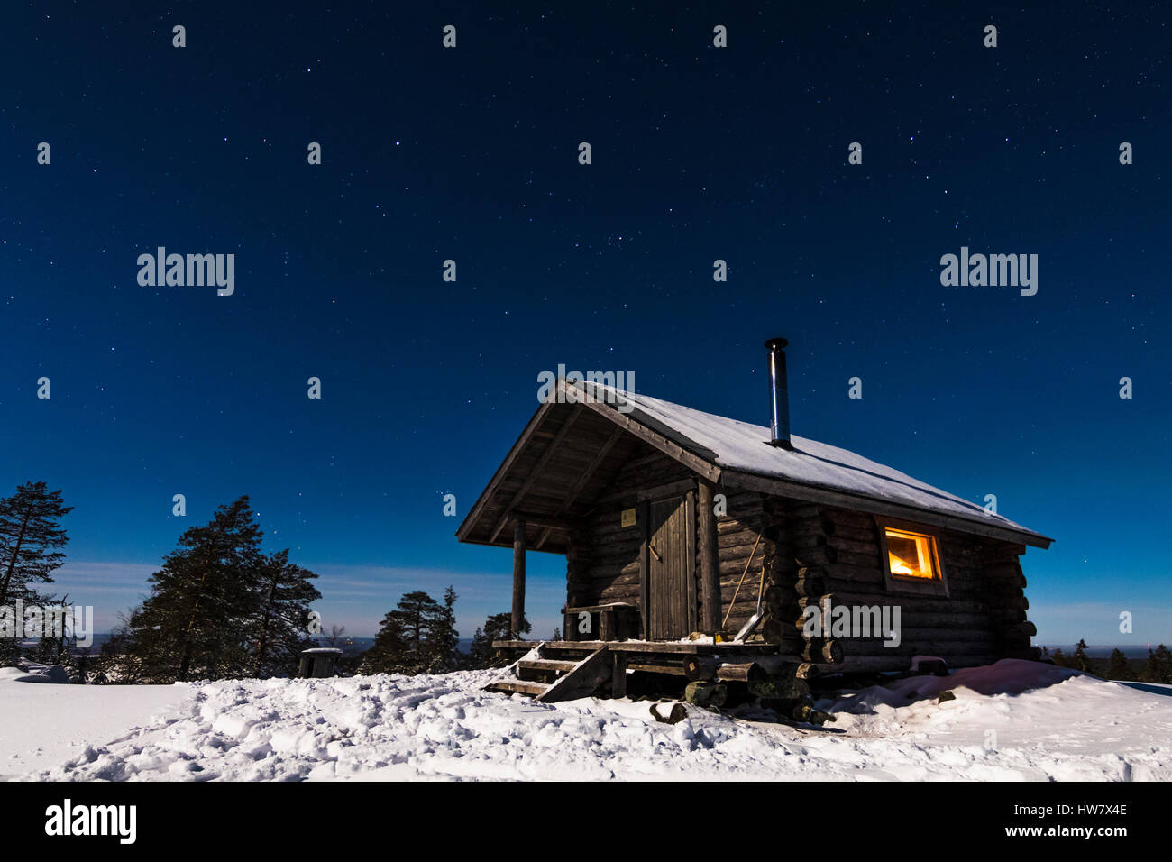 Kivalo open wilderness hut - Stock Image