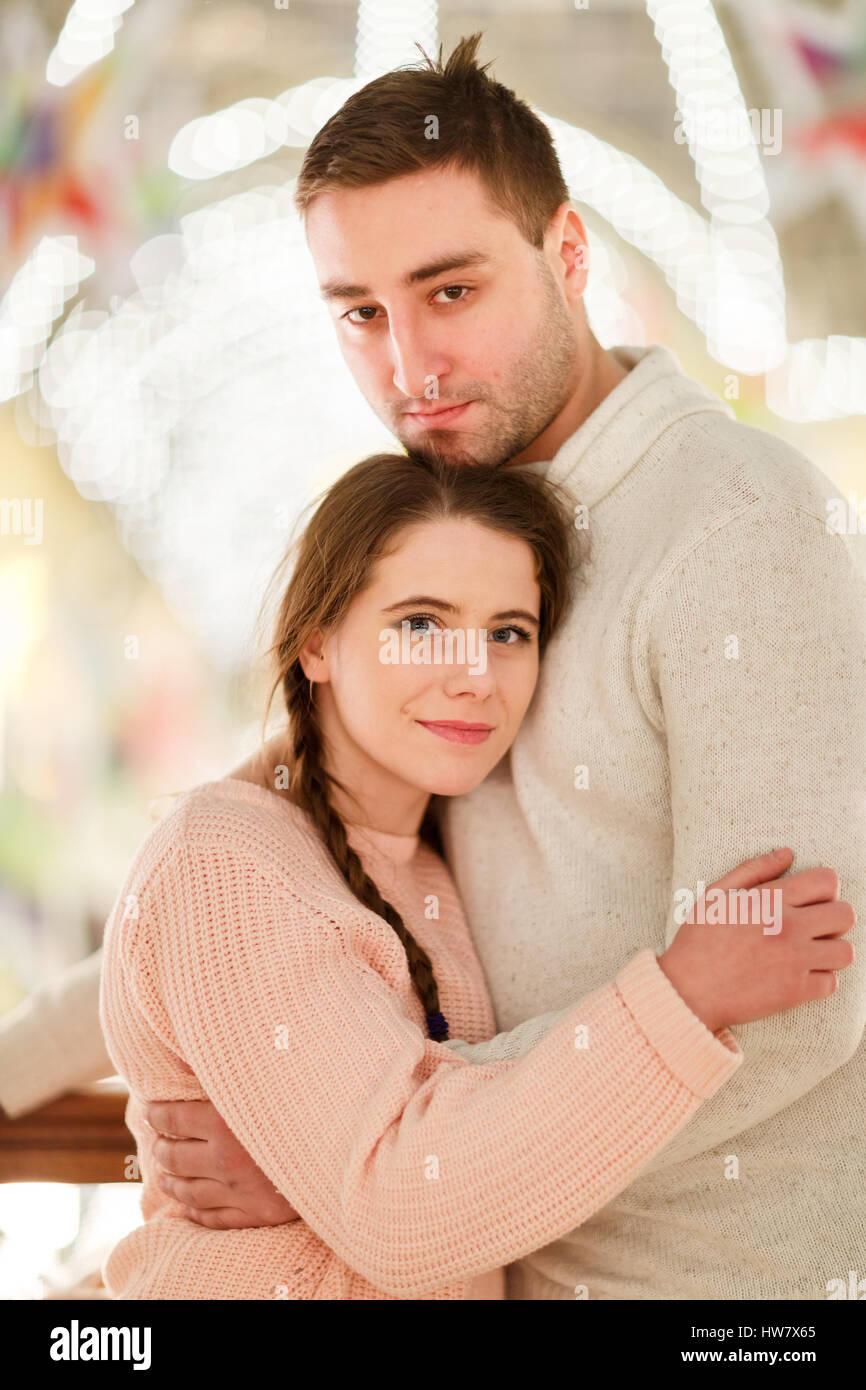 Happy couple on romantic meeting - Stock Image