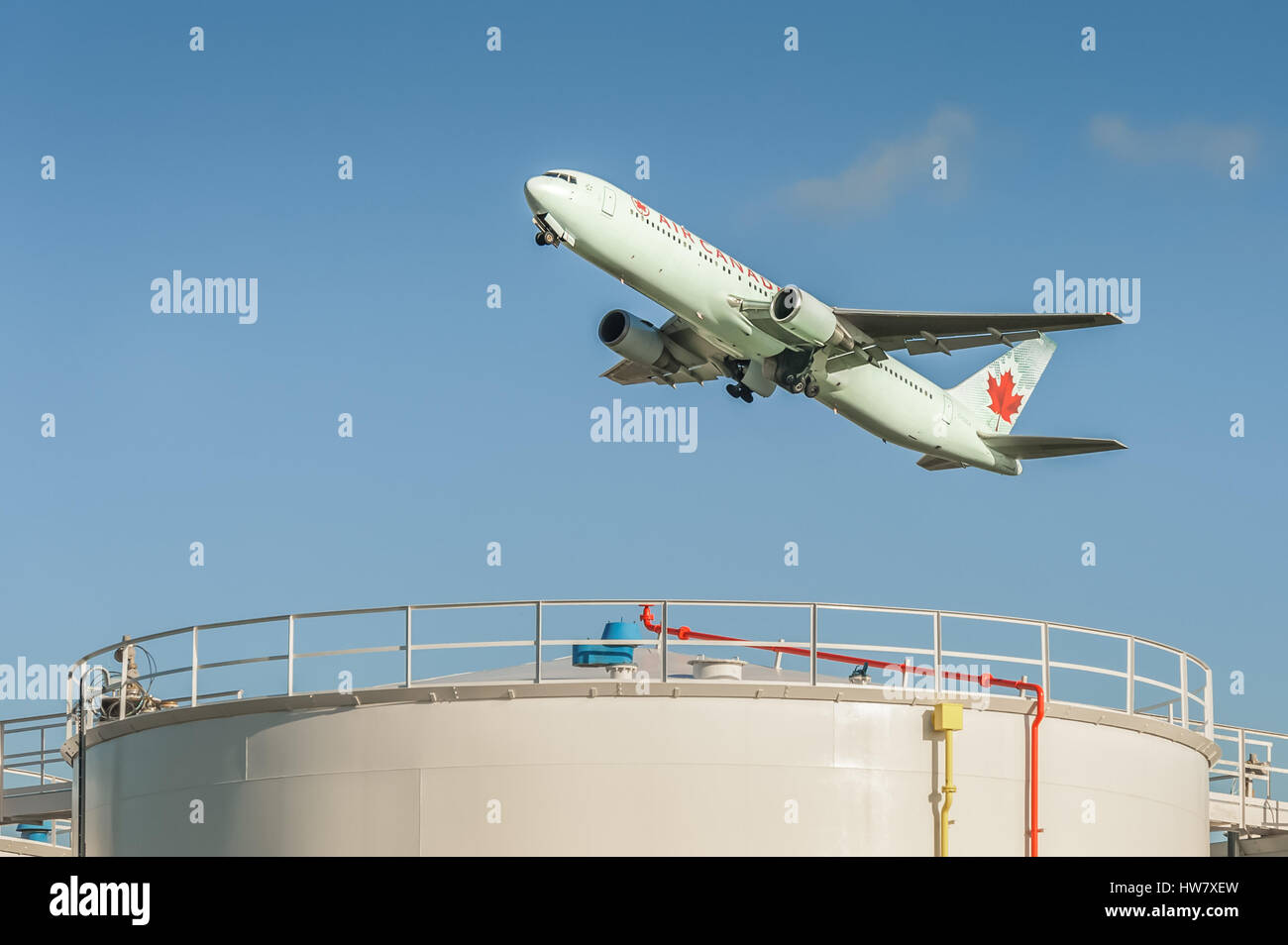 Air Canada Boeing 767 in arctic green livery departing from Heathrow Airport, London, UK Stock Photo