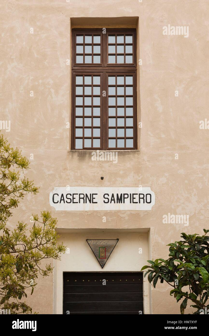 France, Haute Corse, La Balagne Region, Calvi, Citadel, Caserne Sampiero, French Foreign Legion officers mess hall - Stock Image