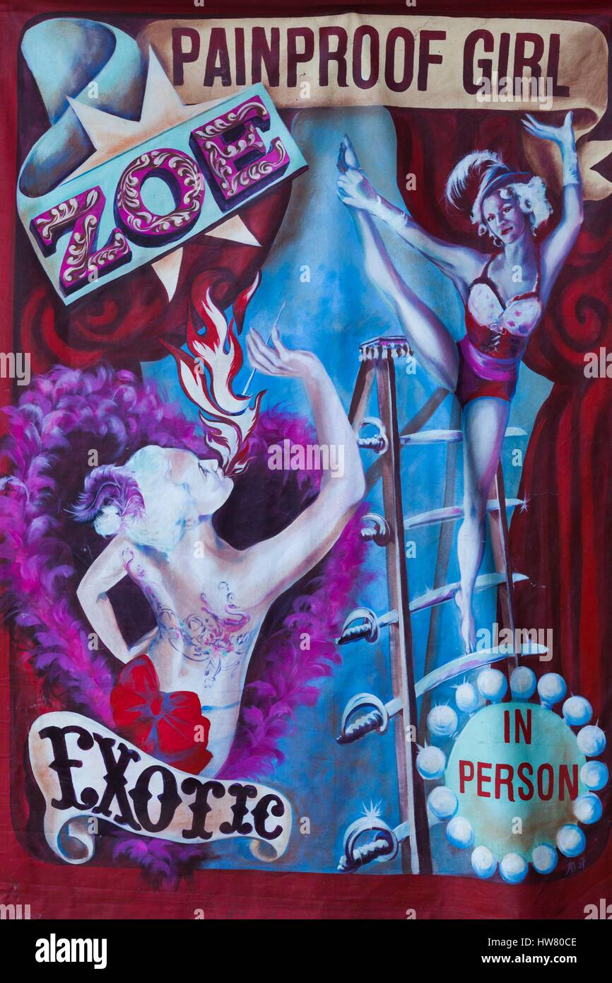 Australia, South Australia, Adelaide, Rundle Park, The Garden of Unearthly Delights, Zoe the Painproof Girl, sign - Stock Image