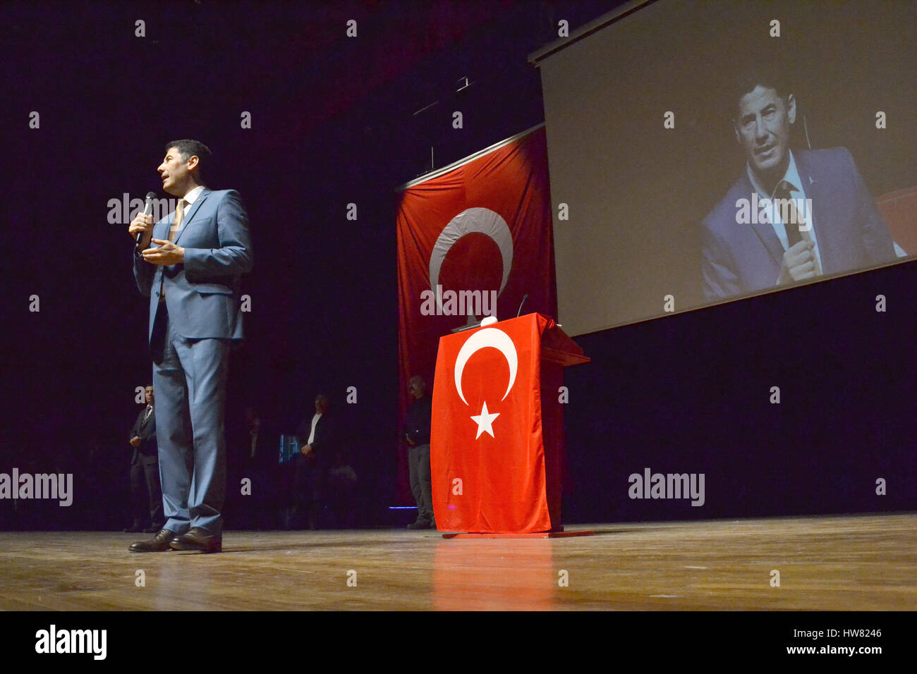 Istanbul, Turkey. 10th Mar, 2017. Sinan Ogan gives a speech in Istanbul, Turkey, 10 March 2017. Ogan was ejected - Stock Image