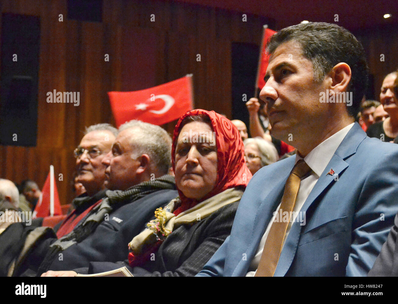 Istanbul, Turkey. 10th Mar, 2017. Sinan Ogan (R) prepares to give a speech to supporters in Istanbul, Turkey, 10 - Stock Image