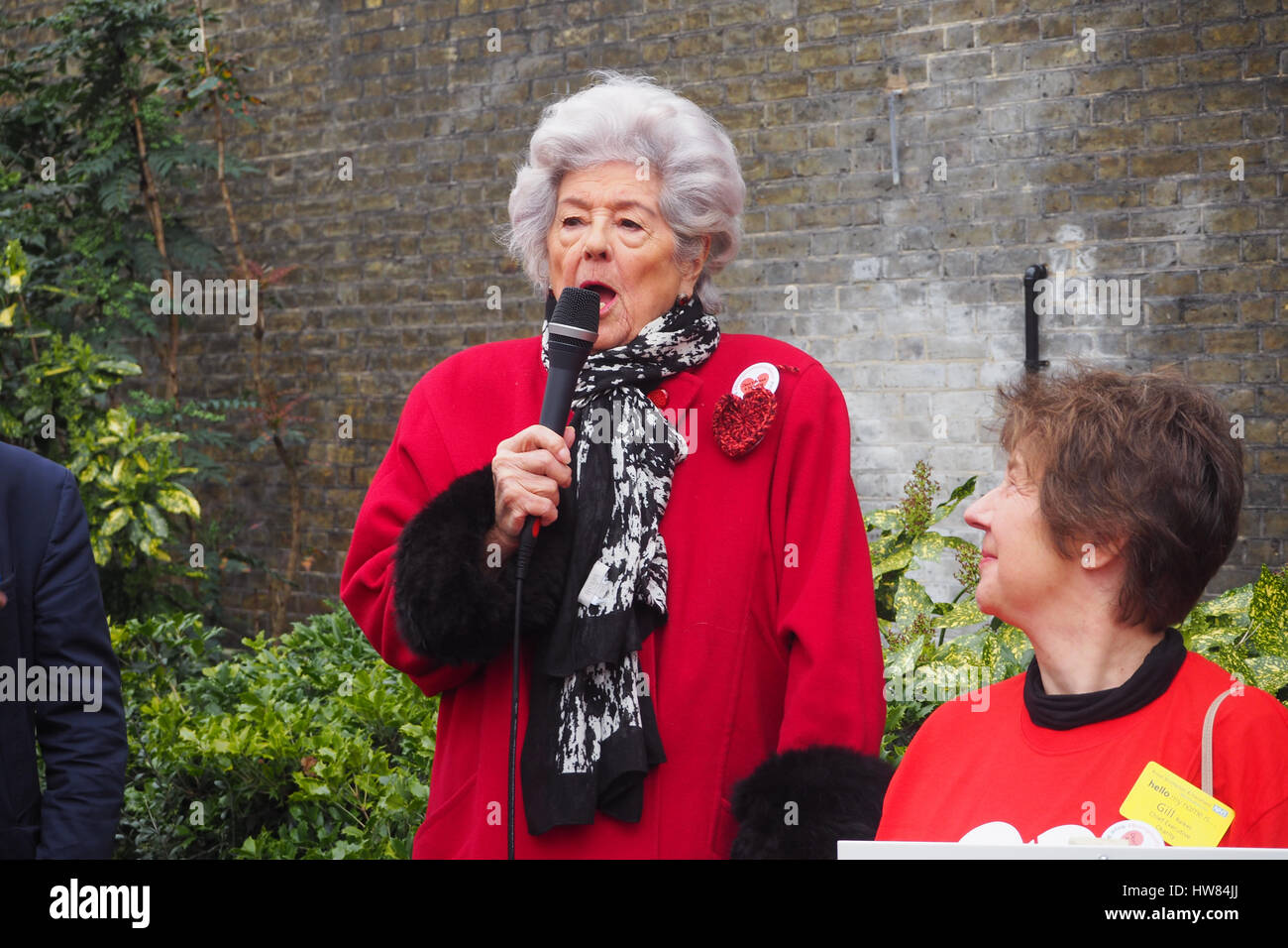 London, UK,18th March 2017.Betty Boothroyd former Speaker of the Commons sends marchers off with a defiant speech Stock Photo